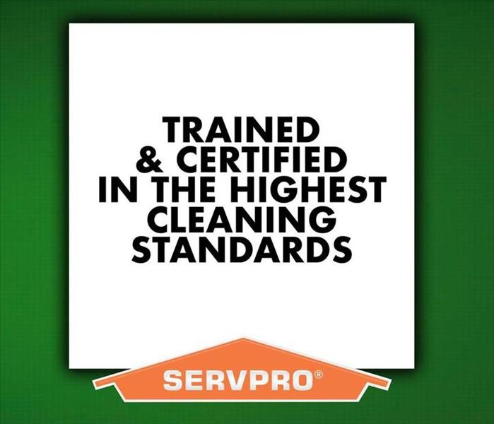 "Green background with ""Faster to any size diaster"" with SERVPRO logo"